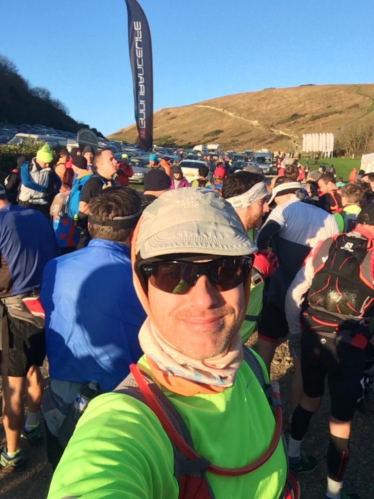 Marathon start selfie